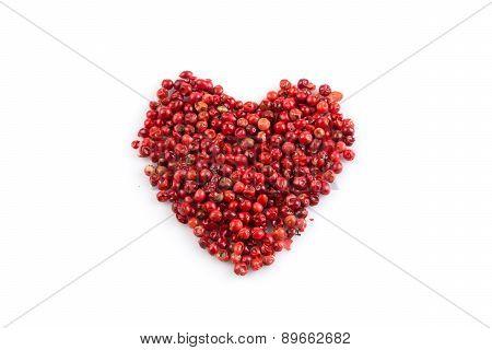 Red Peppercorns Hart Shape