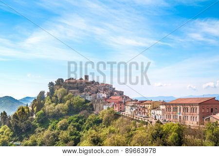 View Of Town Near Matera,basilicata, Italy, Unesco Under Blue Sky