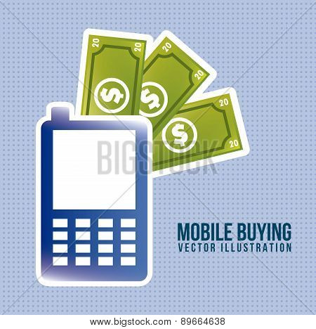 Phone With Bills Mobile Buying Vector Illustration