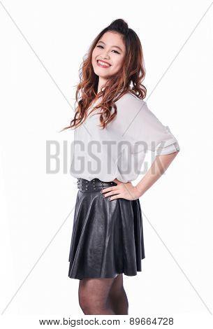 Elegant glamour woman posing on white background