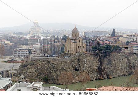 View of the historic center of Tbilisi - Metekhi temple above Mtkvari (Kura) River