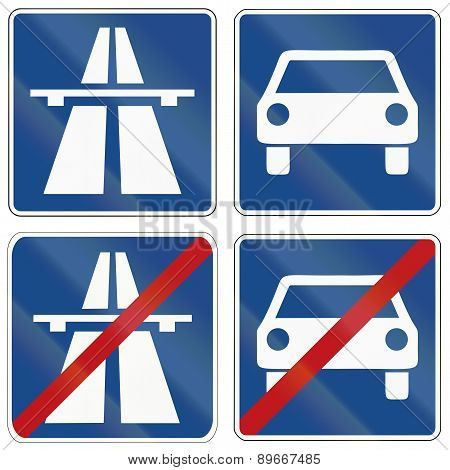 Autobahn And Fast Traffic Highway Signs In Germany