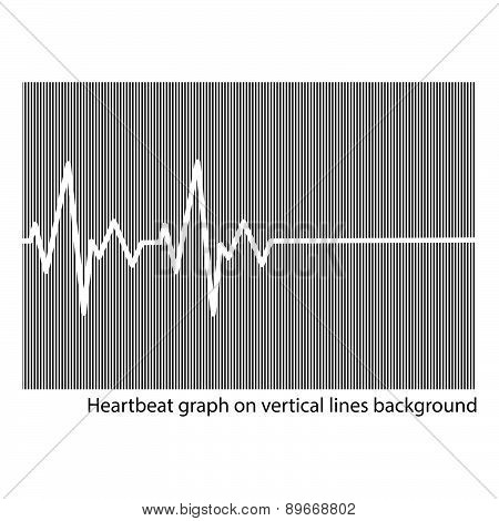 White Heart Cardiogram On The Background