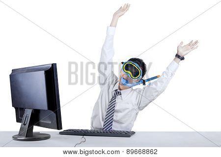 Joyful Businessman Wearing A Snorkeling Mask