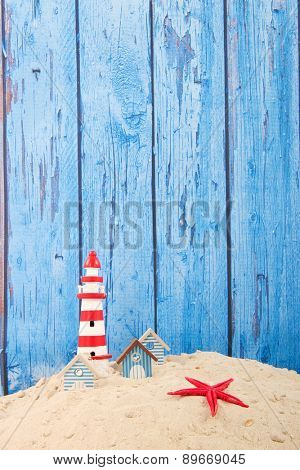 Row blue beach houses with vintage wooden background