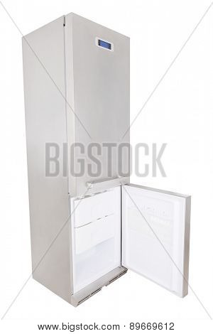 Stainless steel refrigerator - open the freezer door