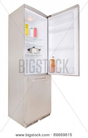 Stainless steel refrigerator -  door is open