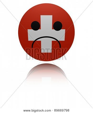 Switzerland flag sad icon with reflection illustration