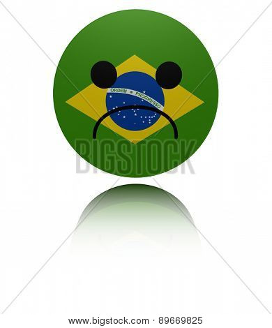 Brazil flag sad icon with reflection illustration