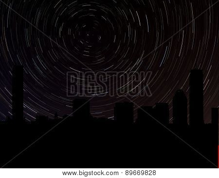 Boston skyline silhouette with star trails illustration