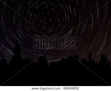 Midtown Manhattan skyline silhouette with star trails illustration