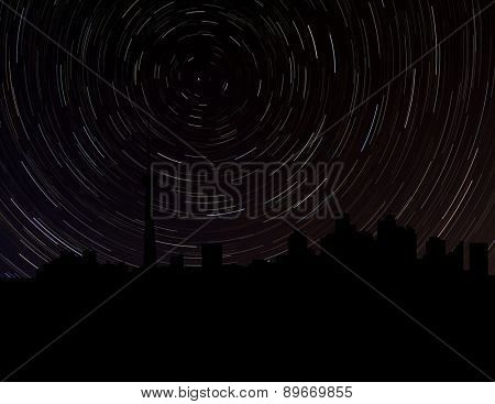 Toronto skyline silhouette with star trails illustration