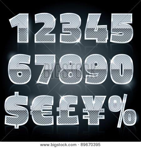 Vector silver steel stamped alphabet. Diamond numbers