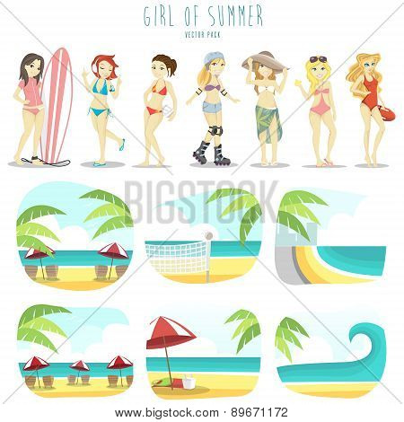 Girl of summer vector pack