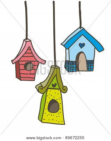 Cute Bird Houses Over White Background Vector Illustration