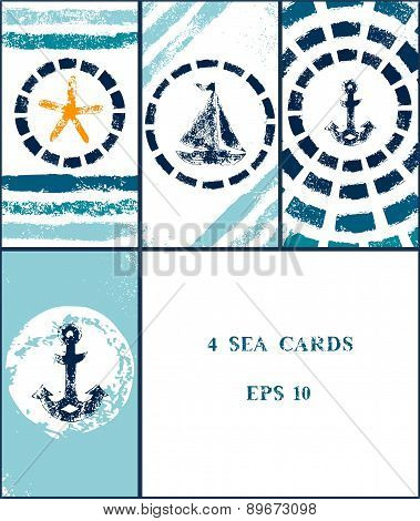 Marine grunge sponge print style illustrations of a boat, an anchor, a starfish in a frame in blue a