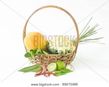 Vegetables . Fresh Bio Vegetable In A Basket.