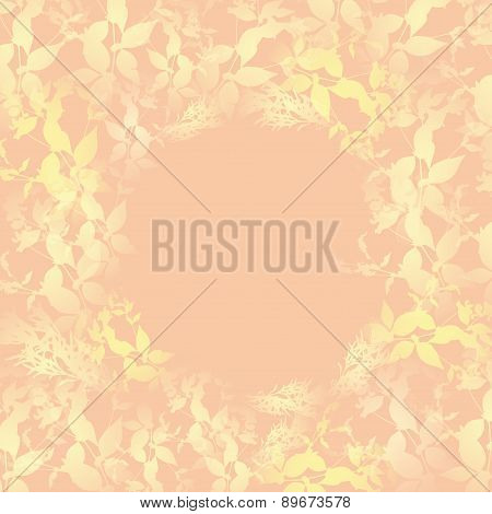 Yellow Leaves On Pink Background. Round Banner For Text. Vector