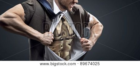 Athlete  businessman with a lot of internal force