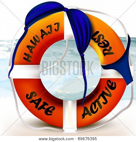 Lifebuoy With Hawaii Signature And Swimsuit Draped On It