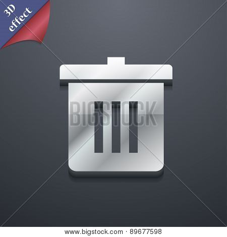 Recycle Bin, Reuse Or Reduce Icon Symbol. 3D Style. Trendy, Modern Design With Space For Your Text V