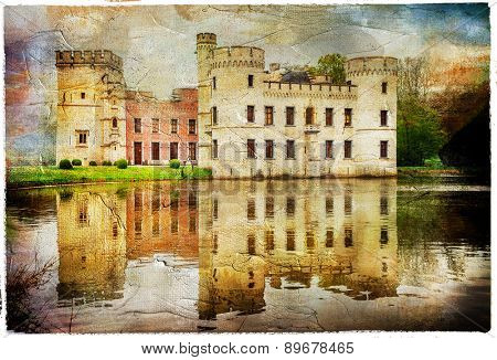 dramatic medieval castle Bouchot in Belgium, artistic picture