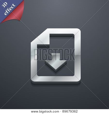 Import, Download File Icon Symbol. 3D Style. Trendy, Modern Design With Space For Your Text Vector
