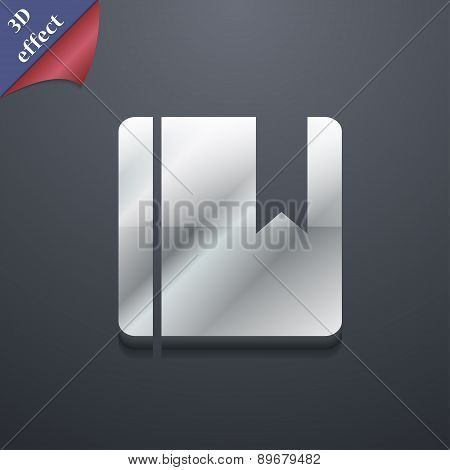 Book Bookmark Icon Symbol. 3D Style. Trendy, Modern Design With Space For Your Text Vector