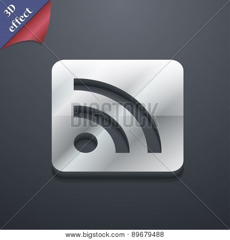 Rss Feed Icon Symbol. 3D Style. Trendy, Modern Design With Space For Your Text Vector