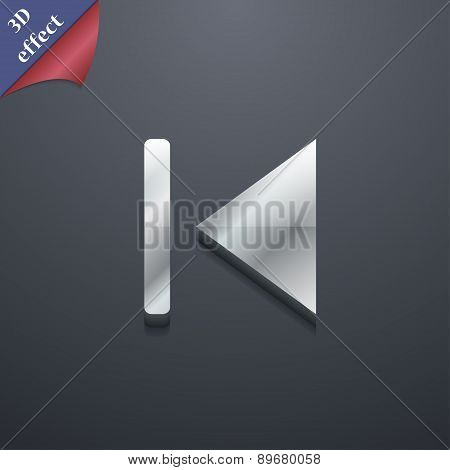 Fast Backward Icon Symbol. 3D Style. Trendy, Modern Design With Space For Your Text Vector
