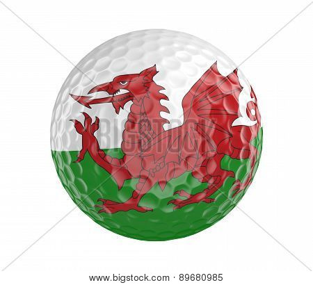 Golf ball 3D render with flag of Wales, isolated on white