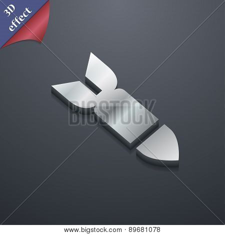 Missile,rocket Weapon Icon Symbol. 3D Style. Trendy, Modern Design With Space For Your Text Vector