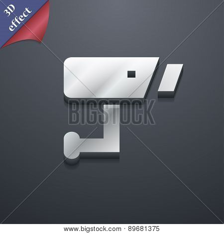 Surveillance Camera Icon Symbol. 3D Style. Trendy, Modern Design With Space For Your Text Vector