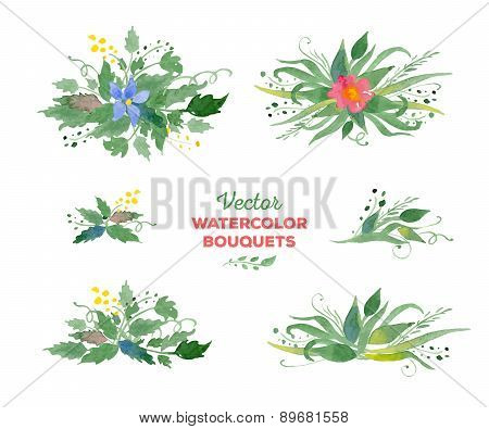 Vector watercolor floral bouquets