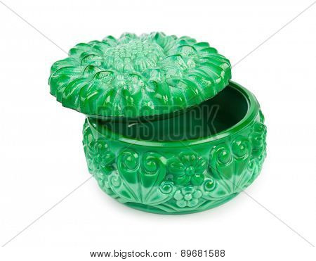Vintage emerald box isolated on white background