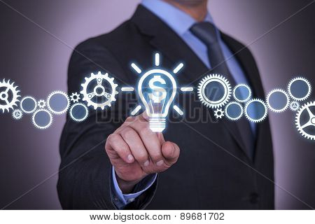 Businessman Touching Finance Idea Concept
