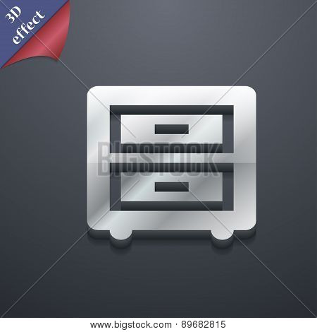 Nightstand Icon Symbol. 3D Style. Trendy, Modern Design With Space For Your Text Vector