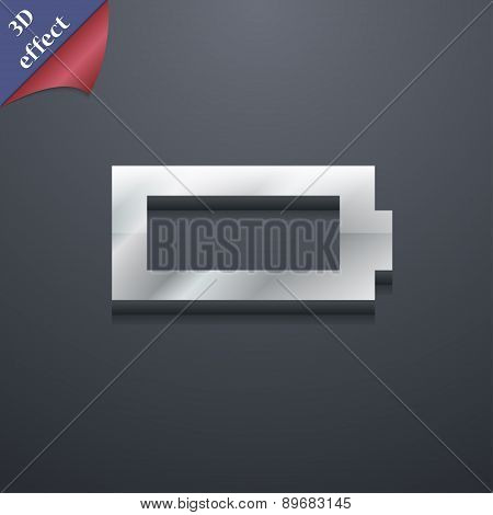 Battery Empty Icon Symbol. 3D Style. Trendy, Modern Design With Space For Your Text Vector