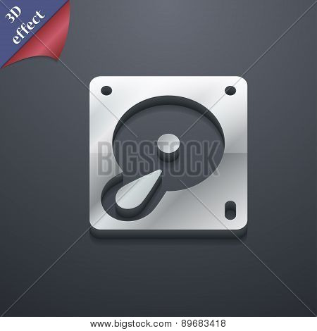 Hard Disk And Database Icon Symbol. 3D Style. Trendy, Modern Design With Space For Your Text Vector