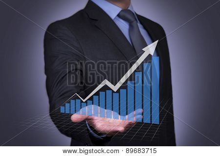 Businessman Touching Succes Graph Concept