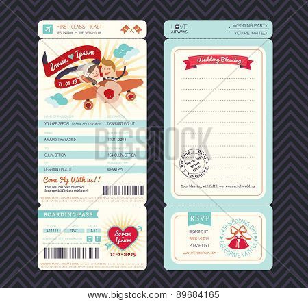 Cartoon Boarding Pass Ticket Wedding Invitation Template Vector