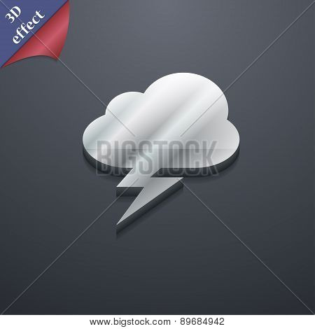 Storm Icon Symbol. 3D Style. Trendy, Modern Design With Space For Your Text Vector
