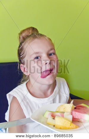 Eating Girl With Put Out Tongue
