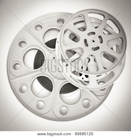 Different Movie Reels With 35Mm Film In Black And White