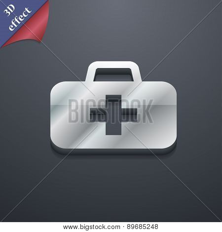 Medicine Chest Icon Symbol. 3D Style. Trendy, Modern Design With Space For Your Text Vector