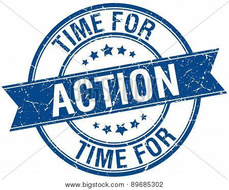 Time For Action Grunge Retro Blue Isolated Ribbon Stamp