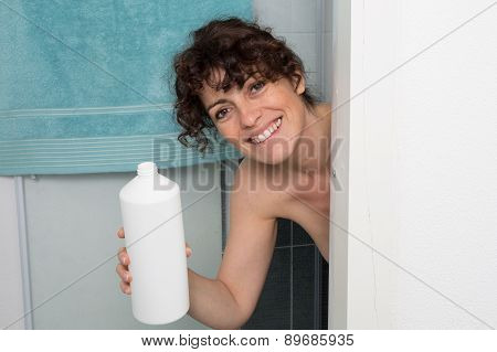 Woman Embarrassed In The Shower Because There Is No Soap