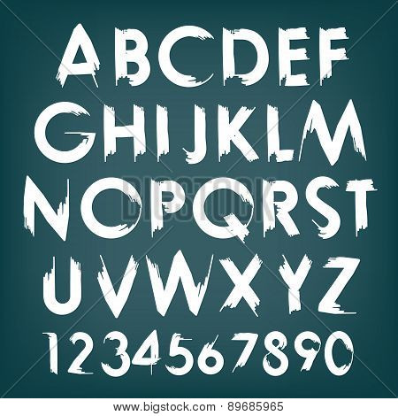 Vector alphabet typography set with numbers.