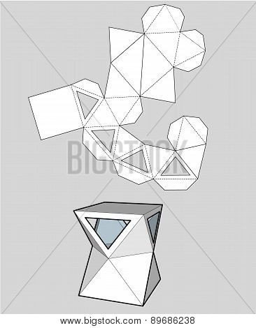 box with triangular windows. Packing box For Food, Gift Or Other Products. On White Background Isola