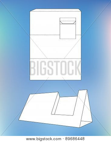 Business card display Box. Box with blueprint layout. Business card holder and die-cut pattern
